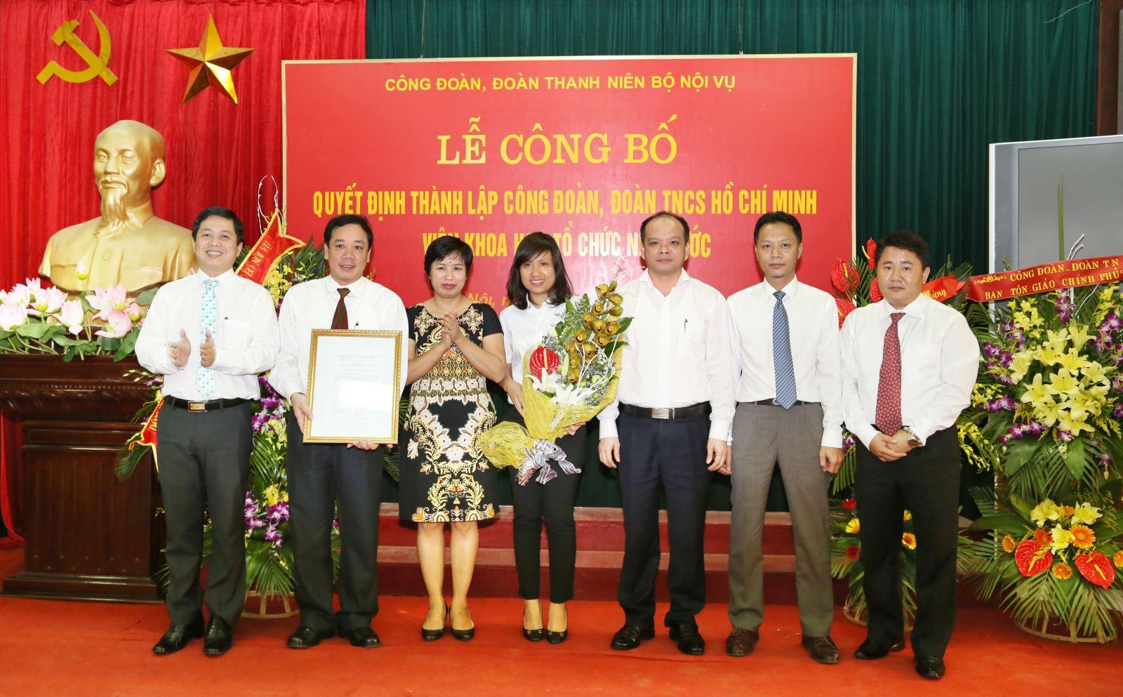 Ceremony to announce Decisions on establishing the Trade Union and the Ho Chi Minh Communist Youth Union of the Institute for State Organizational Sciences